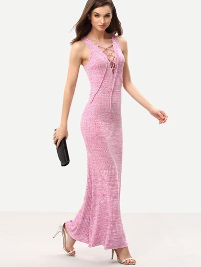 Pink Sleeveless Lace Up Maxi Dress
