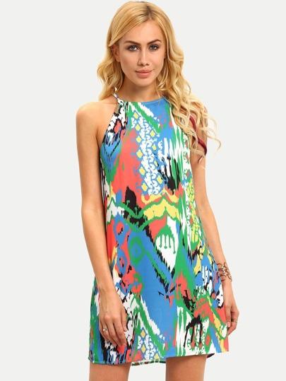 Multicolor Print Sleeveless Hollow Dress