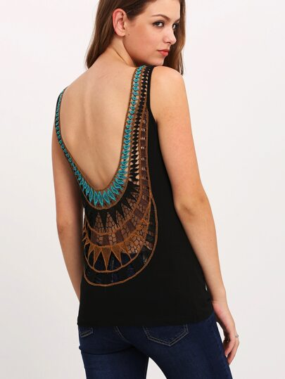Black Embroidered U Back Tank Top