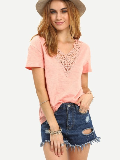 Pink Crochet V Neck Short Sleeve T-shirt