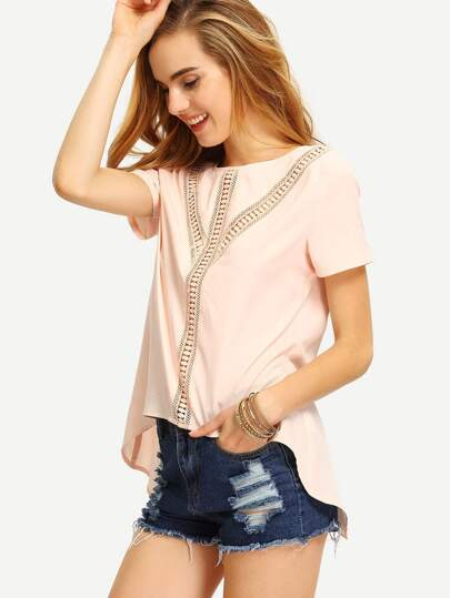 Pink Crochet Panel Short Sleeve Blouse