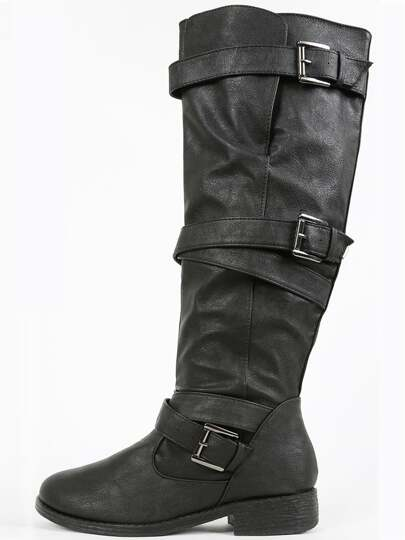 Bamboo Jagger-a Strappy Knee High Boots BLACK