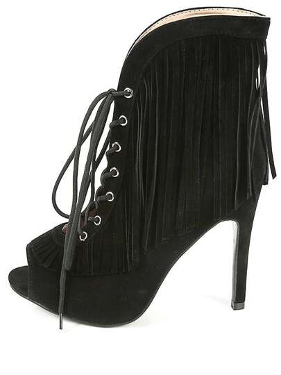 Peep Toe Stiletto Fringe Ankle Booties BLACK