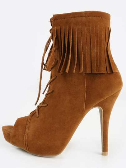 Anne Michelle Verdict- Fringe Booties CHESTNUT