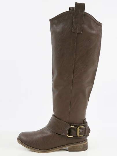 Breckelle's Rider- PU Buckle Riding Boots BROWN