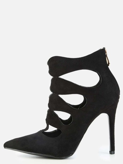 Pointy Toe Cut Out Booties BLACK