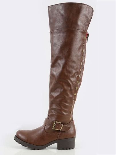 Bamboo Capture- Side Stud Riding Boots BROWN