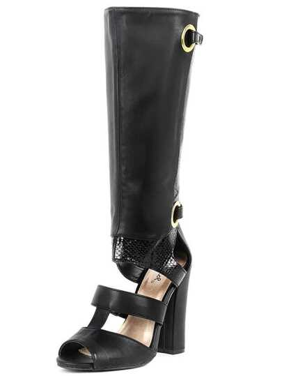 Qupid Immortal-32 Snake Cut Out Boots BLACK