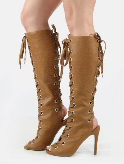 Peep Toe Lace Up Knee Boots WHISKEY