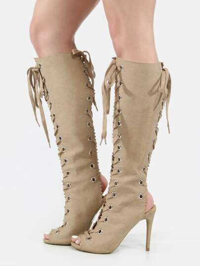 Peep Toe Lace Up Knee Boots NATURAL