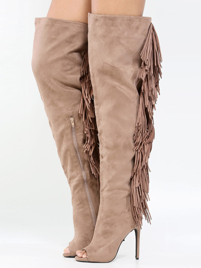 Privileged Primrose Thigh High Fringe Boots TAUPE