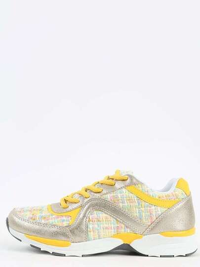 Liliana Ryder- Tweed Lace Up Casual Sneakers YELLOW