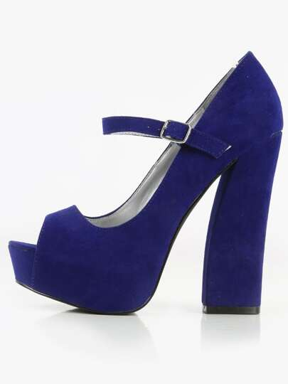 Qupid Honor- Peep Toe Velvet Block Heels ROYAL BLUE
