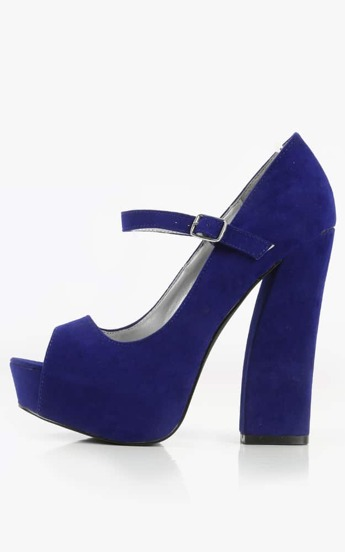 Qupid Honor-15 Peep Toe Velvet Block Heels