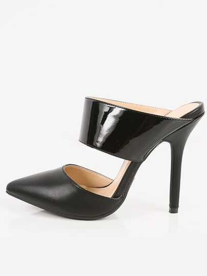 Wild Diva Adora-89 Backless Pointed Toe Pumps BLACK