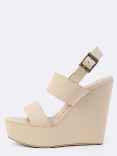 Double Strap Wedges NUDE