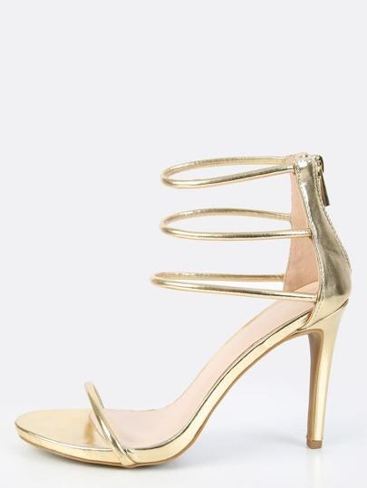 Metallic Triple Strap Heels GOLD