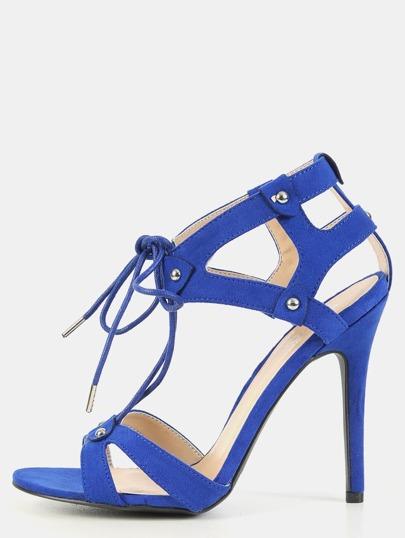 Open Toe Stiletto Studded Heels COBALT BLUE