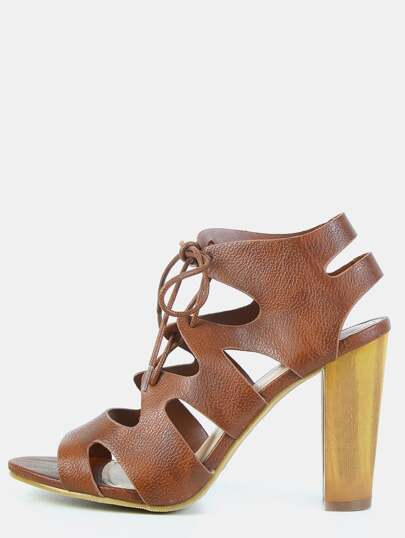 Faux Wooden Heel Caged Lace Up Heels CHESTNUT