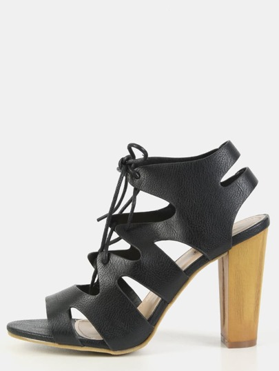 Faux Wooden Heel Caged Lace Up Heels BLACK
