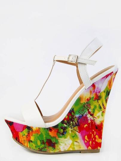 T-Strap Geometric Print Wedges WHITE
