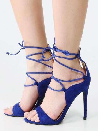 Lace Up Open Toe Single Sole Stiletto Heels BLUE
