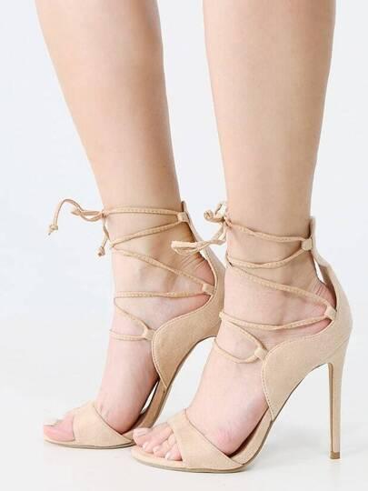 Lace Up Open Toe Single Sole Stiletto Heels BEIGE
