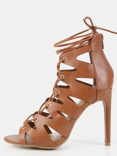 Peep Toe Lace Up Zig Zag Heels COGNAC