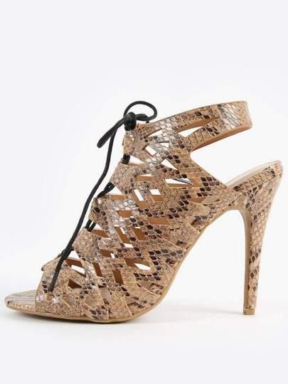 Anne Michelle Princess-19 Lace Up Snake Heels SNAKE