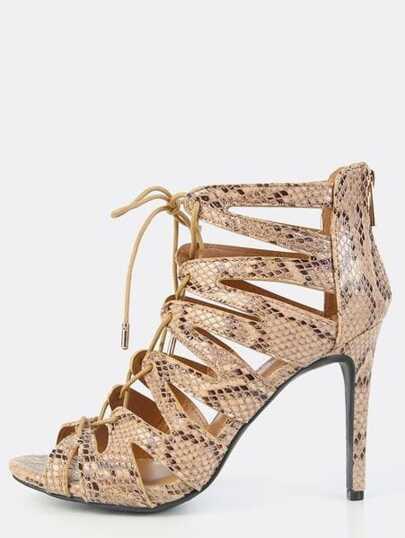 Snake Embossed Lace Up Stiletto Heels NATURAL SNAKE