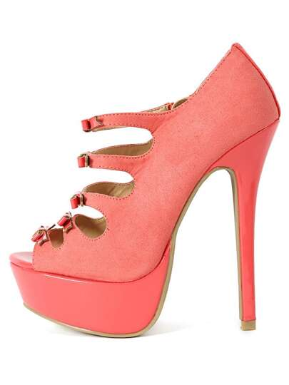 Wild Diva Jacklyn-51a Strappy Bow Heels CORAL