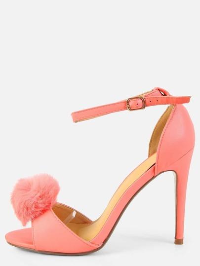 Pom Pom Open Toe Single Sole Heels PINK