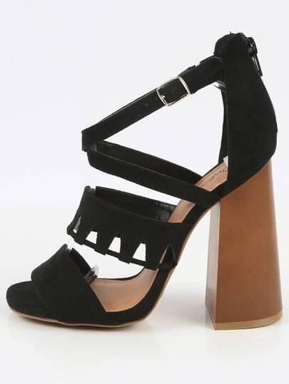 Qupid Boogie-04 Boho Cutout Strap Chunky Heels BLACK