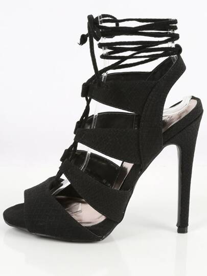Qupid Glee-191 Snake Print Lace Up Heels BLACK