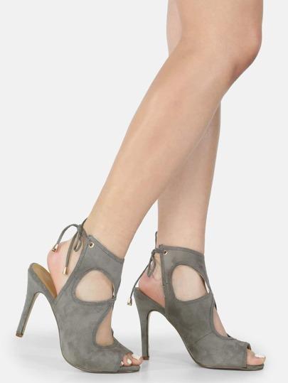 Backless Peep Toe Cut Out Heels GREY