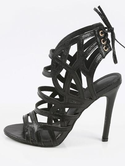 Liliana Nikia-12 Laser Cut Caged High Heels BLACK