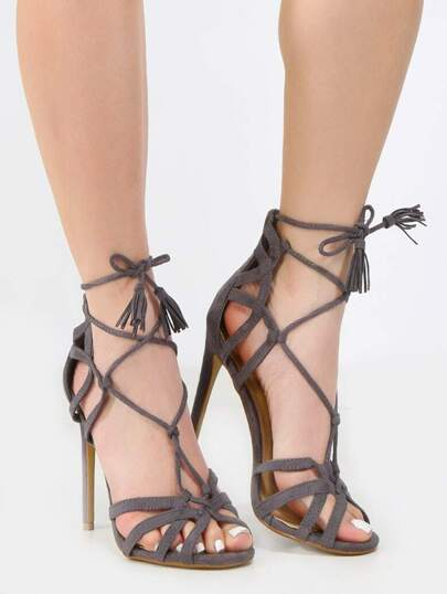 Caged Tassel Single Sole Heels GRAY