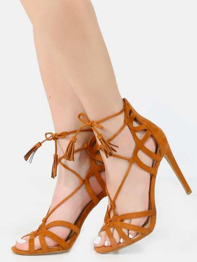 Strappy Caged Wrap Up Tassel Heels CAMEL