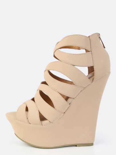 Open Toe Caged Wedges NUDE