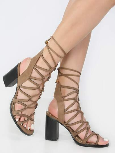Lace Up Chunky Heels KHAKI
