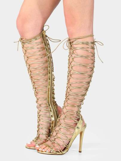 Metallic Lace Up Gladiator Heels GOLD