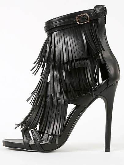 Privileged Melko Strappy Tiered Fringe Heels BLACK