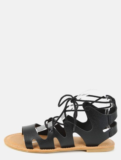Open Toe Gladiator Lace Up Sandals BLACK