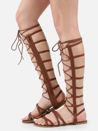 Open Toe Tie Up Gladiator Sandals CHESTNUT