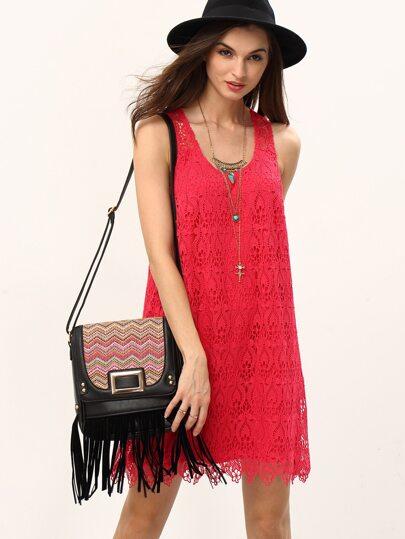 robe en dentelle - rouge