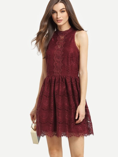 Halter Neck Fit & Flare Lace Dress