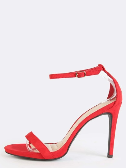 Faux Suede Ankle Strap Heels RED