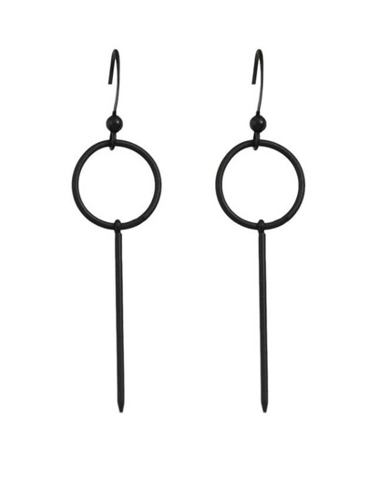 Black Plated Long Hanging Earrings