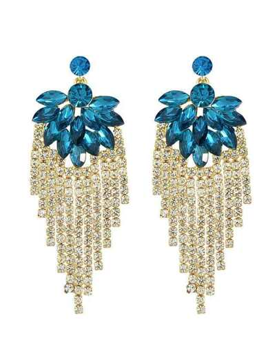Blue Beautiful Rhinestone Long Earrings