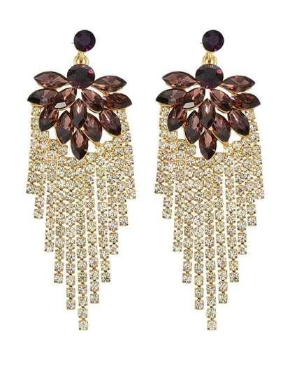 Red Beautiful Rhinestone Long Earrings